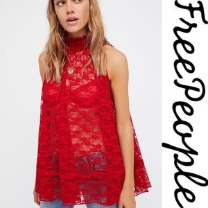 🌸NWOT Free People Myrna Lace Swing Tank Top Red